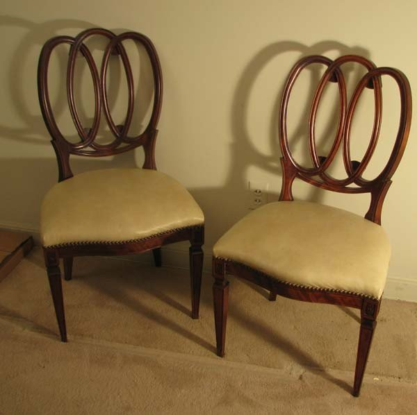663: Set of 4 Mahogany Side Chairs with fluted legs