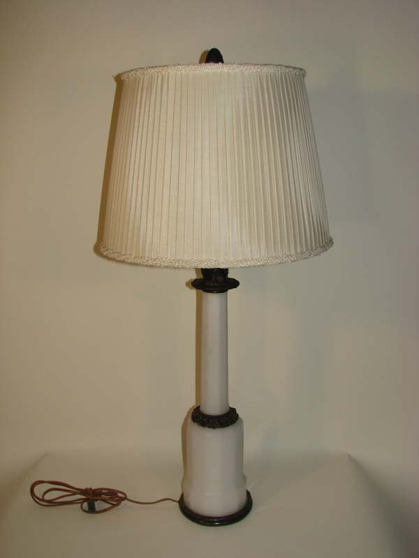 670: Columnar Milk Glass Lamp