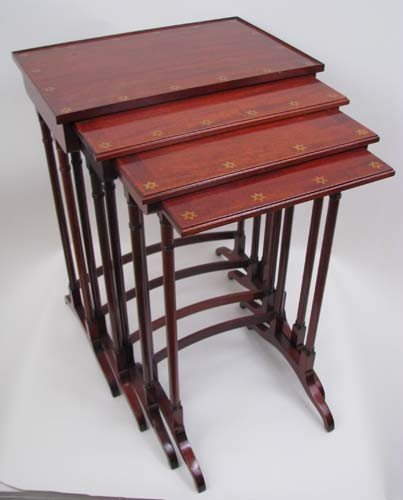 673: Set of 4 Nesting Tables w/Inlaid Star Decoration