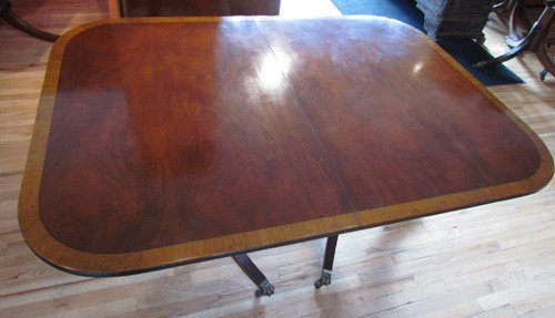 674: 11 Foot Flame Grained Mahogany Dining Table