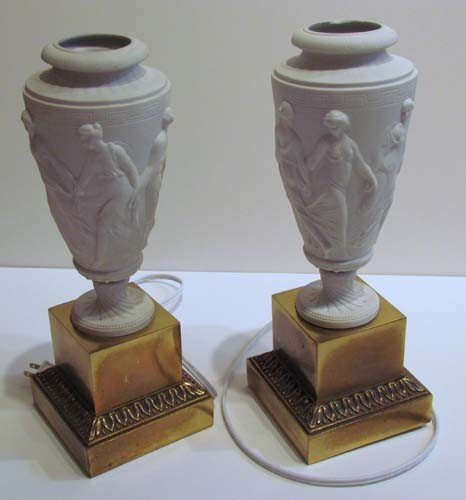 677: Pair of Bisque and Brass Neoclassic Electric Torch