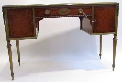 678: Italian painted marquetry and gilt sideboard