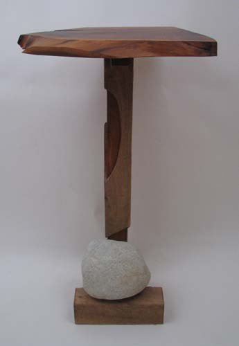 6: Tadao Arimoto Wakarimasu Wood Stand with Rock Weight