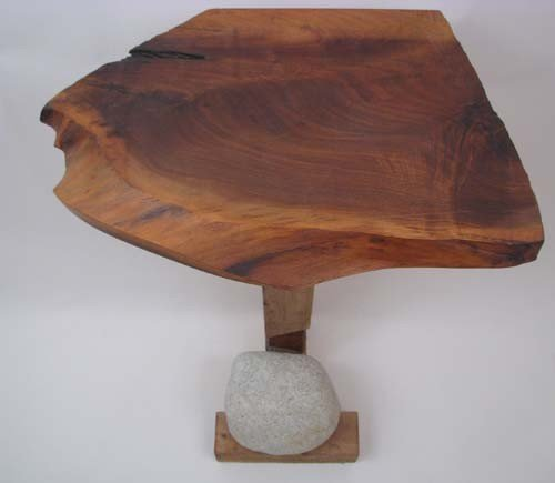 6: Tadao Arimoto Wakarimasu Wood Stand with Rock Weight - 2