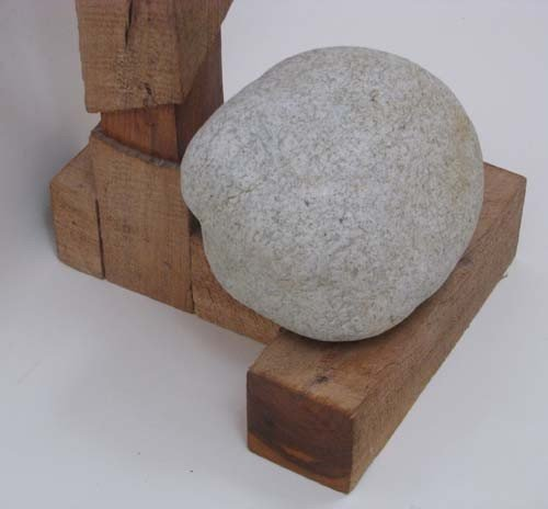 6: Tadao Arimoto Wakarimasu Wood Stand with Rock Weight - 4