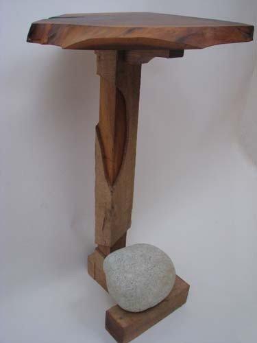 6: Tadao Arimoto Wakarimasu Wood Stand with Rock Weight - 5