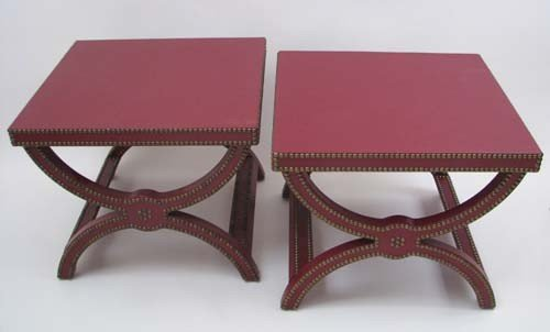 8: Pair of Baker Alexandre Stools in Red Leather
