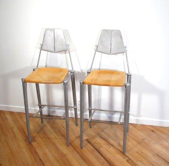 18: Pair of Bob Josten Cast Back Barstools