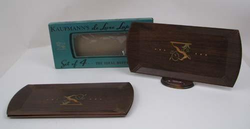 19: Four vintage inlaid wooden Kaufmann's de-luxe trays