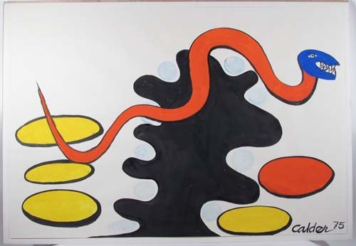 102: Alexander Calder Orig Gouache Blue Headed Red Snak