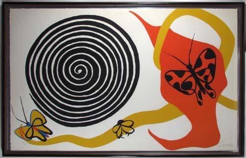 105: Alexander Calder lithograph Butterflies and Swirls