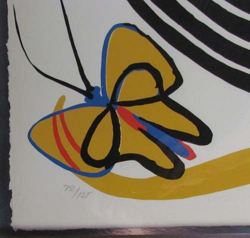 105: Alexander Calder lithograph Butterflies and Swirls - 3