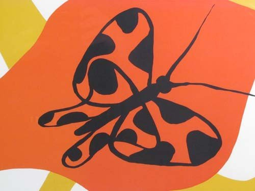 105: Alexander Calder lithograph Butterflies and Swirls - 4