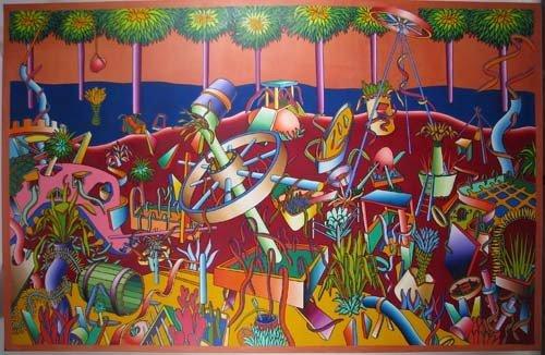 168: Douglas Hilson Large Surreal Tropical Painting