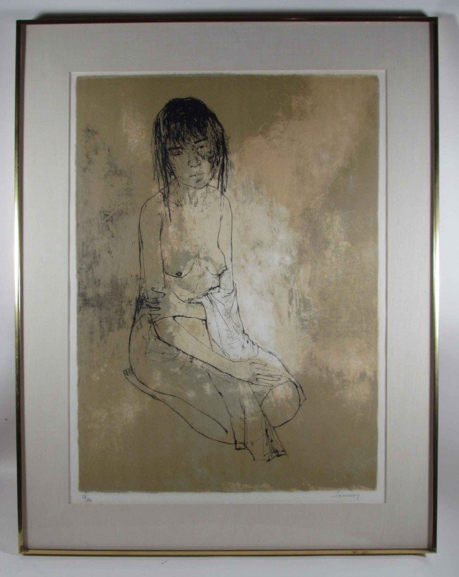 176: Jean Jansem Nude with Towel lithograph