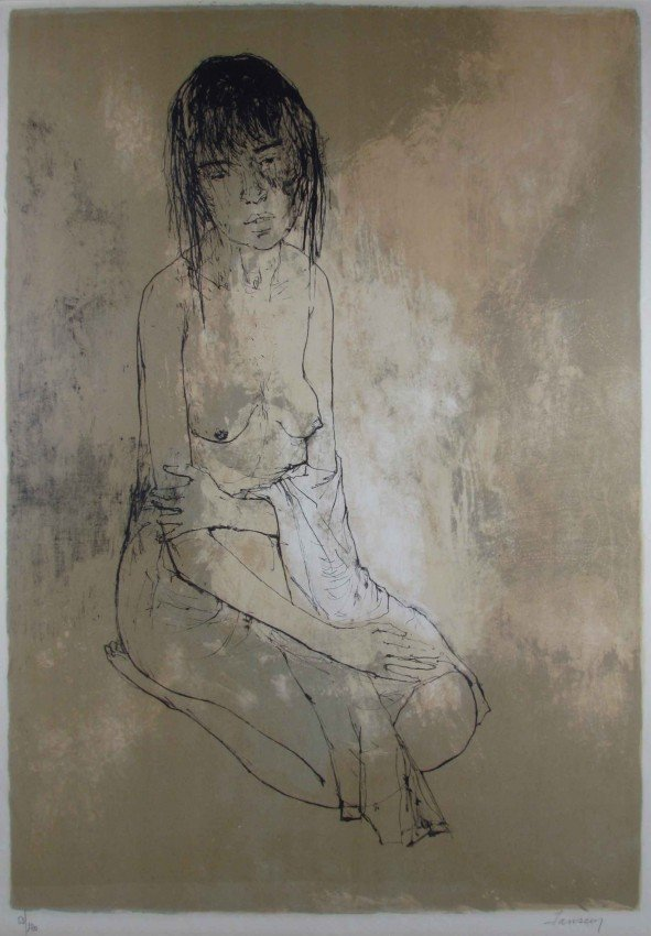 176: Jean Jansem Nude with Towel lithograph - 2