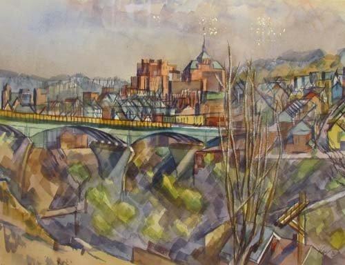 181: Henry Koerner Bloomfield Bridge watercolor