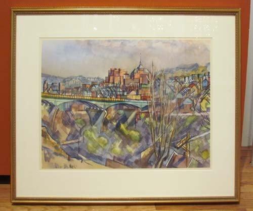 181: Henry Koerner Bloomfield Bridge watercolor - 2