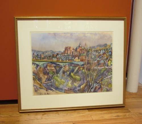 181: Henry Koerner Bloomfield Bridge watercolor - 3
