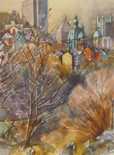 182: Henry Koerner Downtown Pittsburgh watercolor