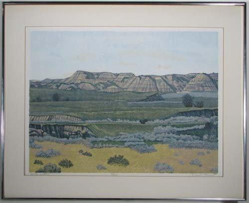225: Gordon Mortensen reduction color woodcut North Dak