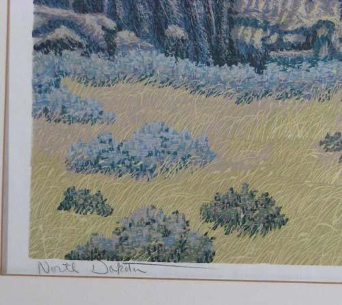 225: Gordon Mortensen reduction color woodcut North Dak - 2
