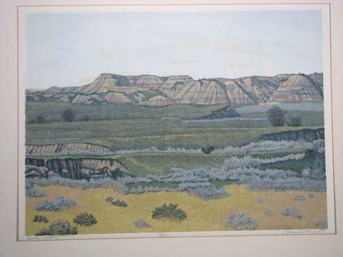 225: Gordon Mortensen reduction color woodcut North Dak - 4