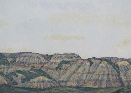 225: Gordon Mortensen reduction color woodcut North Dak - 5