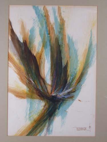234: Leonardo Nierman Abstract watercolor - 2