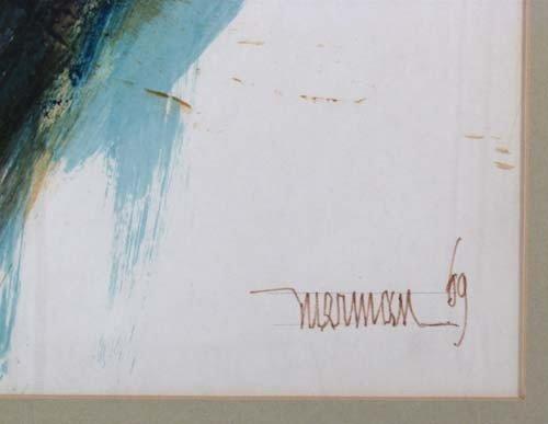 234: Leonardo Nierman Abstract watercolor - 3