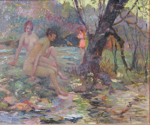 23: Milan Petrovits painting The Bathers