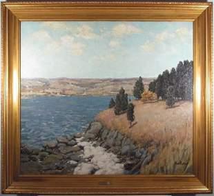 185: Ben Foster ptg. Mystic Along the Connecticut River