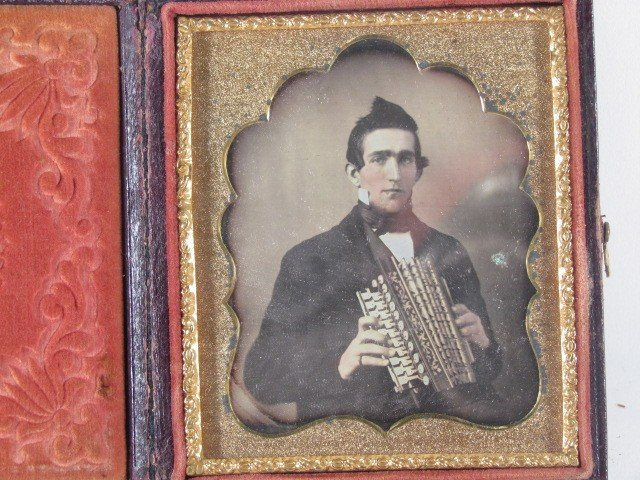 234: Pair Musician Daguerreotype and Ambrotype
