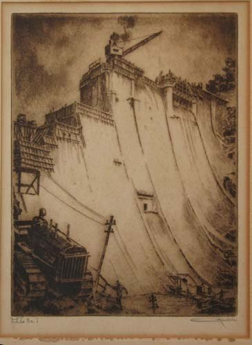 517: Otto Kuhler Prettyboy Dam Construction etching