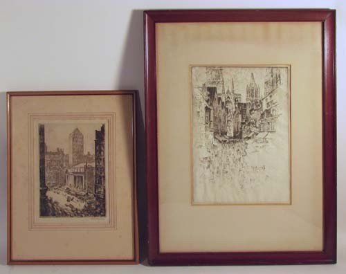 519: 2 signed orig Etchings By  Kuhler and Pennell
