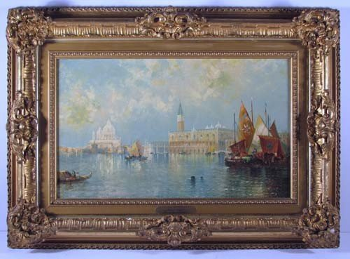 "713: Thomas Moran ptg  ""Venice from the Grand Canal"""