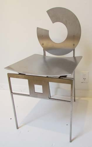 """8: Bruce Lindsey Unique Stainless Steel """"Circle"""" Chair"""