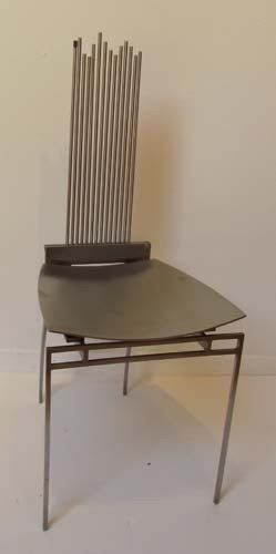 """9: Bruce Lindsey Unique Stainless Steel """"Water"""" Chair"""