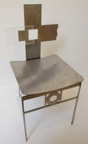 """10: Bruce Lindsey Unique Stainless Steel and Glass """"Squ"""