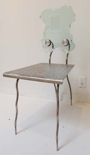 """11: Bruce Lindsey Unique Stainless Steel """"Glass"""" Chair"""