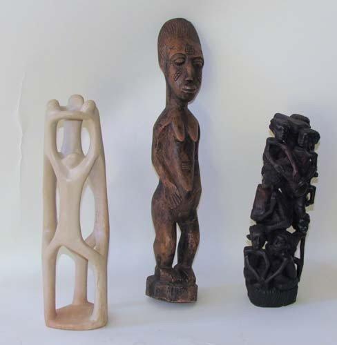 21: 2 Makonde Carvings with African  Ancestor Figure