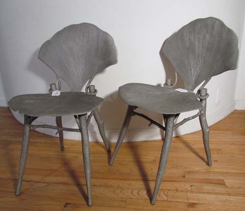 114: Pair of Claude Lalanne Ginkgo Chairs
