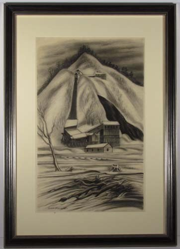 "163:  Ernest Fiene charcoal drawing ""Coal Mine"""