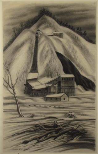 "163:  Ernest Fiene charcoal drawing ""Coal Mine"" - 2"