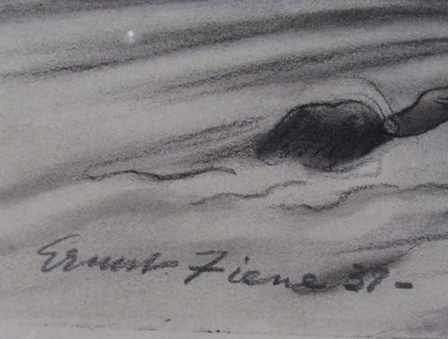 "163:  Ernest Fiene charcoal drawing ""Coal Mine"" - 3"