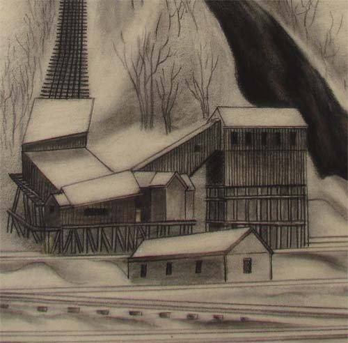 "163:  Ernest Fiene charcoal drawing ""Coal Mine"" - 4"