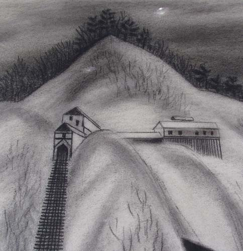 "163:  Ernest Fiene charcoal drawing ""Coal Mine"" - 5"