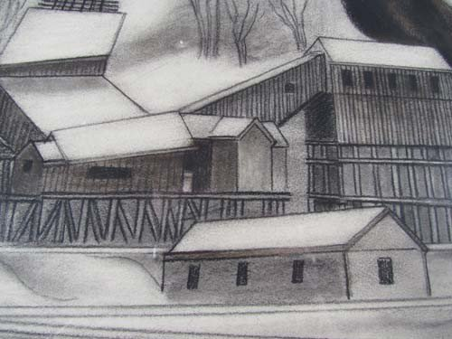 "163:  Ernest Fiene charcoal drawing ""Coal Mine"" - 6"