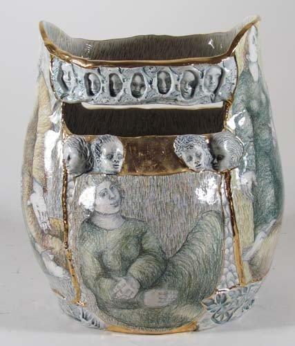 222: Mary Lou Higgins Figural Painted Ceramic Vase