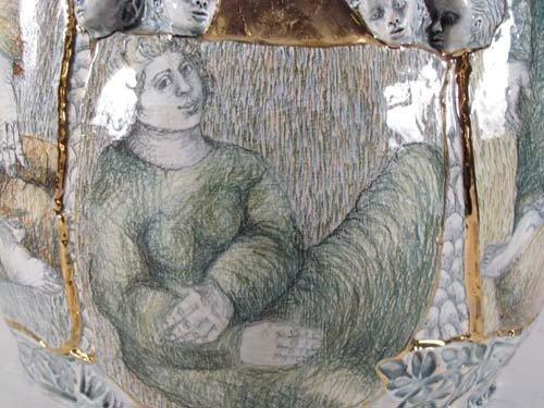 222: Mary Lou Higgins Figural Painted Ceramic Vase - 3
